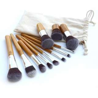 [PO24]11PCS Natural Bamboo Makeup Brush Foundation Brushes Set
