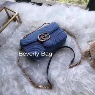 jual tas Gucci Marmont GG LEATHER MIRROR - blue jeans