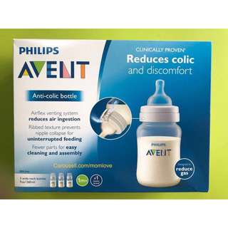 🌈(Ready Stock) 🆕Brand New Philips Avent Anti-colic Baby Bottles Clear, 9oz/260ml, 3 Piece (3 bottles in a pack)