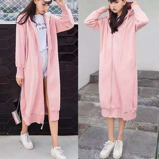 Long Zip Hoodie Jacket Dress