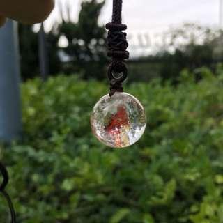 彩虹膠花異像水晶球吊墜