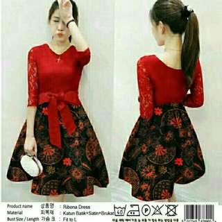 dress satin batik mix brukat merah