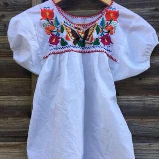 古著 墨西哥刺繡T 上衣 嬉皮 波希米亞 音樂祭 民族風格 歐美 s號