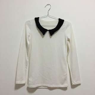 White Knit Collar Top