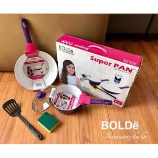 Panci Set Bolde Super Pan Ungu Cooking Set 4 Pcs + 1 Spon (5 Pcs)