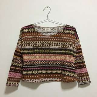 Tribal ethnic knit sweater top