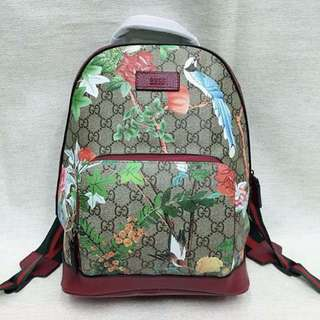 Gucci Tian GG Supreme Canvas & Red Canvas Leather Backpack
