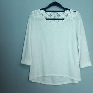 Forever 21 Round Neck Floral Crochet Paneled Back 3/4 Sleeve Top Blouse
