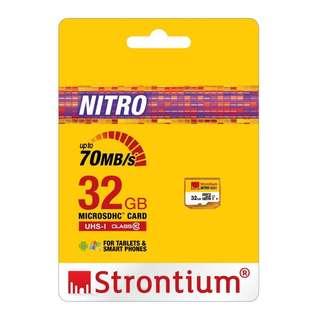 STRONTIUM NITRO 466X MICRO SDHC UHS1 CLASS 10 32GB MEMORY CARD