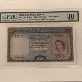 1953 Malaya $100