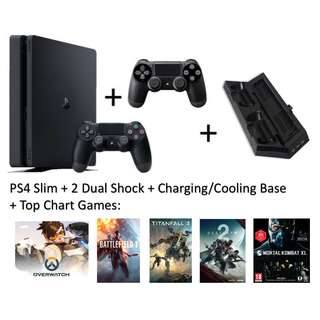 PS4 Slim (Like New) + 2 Dual Shock + Charging Base + Top Chart Games (BF1, T2..)