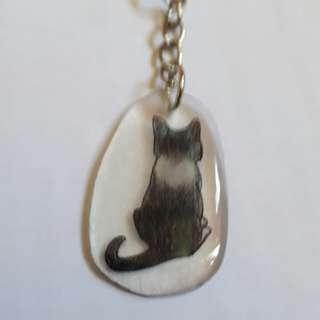 ( 手作商品 )  貓咪背影  鑰匙圈