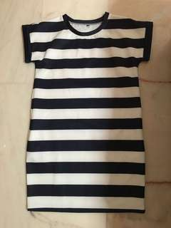 Navy Strip Sleeve Dress with Side Pockets