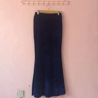 CLEARANCE SALE Long Velvet Mermaid Skirt (Dark Blue)