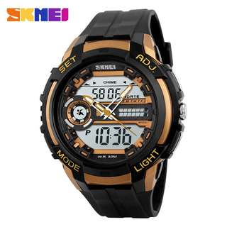 SKMEI Jam Tangan Analog Digital Pria - AD1202 - Black Gold