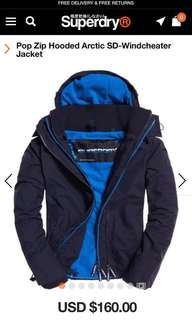 Superdry 英國版深藍色面淺藍色底抓毛外套