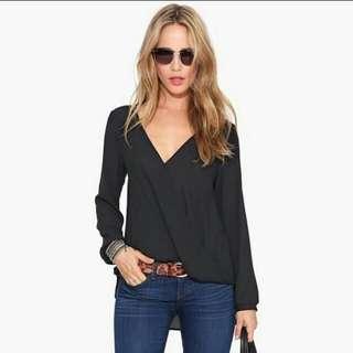 Long sleeve v neck chiffon blouse. Size S Black in stock.