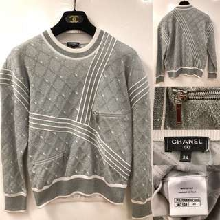 Chanel gray metallic silver airline sweater size 34