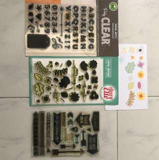 Lot of Clear Stamps for Scrapbooking Crafting Cards