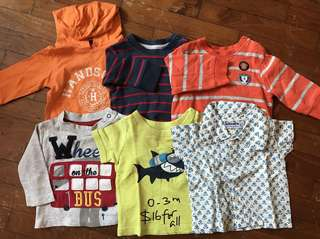 0-3 month bundle of tshirts/ shirt and sweater