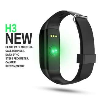 H3 Fitness Tracker, Smart Watch Wristband Heart Rate Monitor, Pedometer Bluetooth 4.0 for Outdoor Running Walking For iOS Android