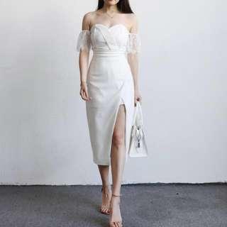 BNIP PINK Lace Slit Off Shoulder Midi Dress