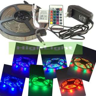 SMD3528 RGB LED STRIP LIGHT with remote and 2A Adapter type