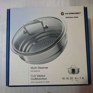 Le creuset multi steamer 16,18,20 with glass lid