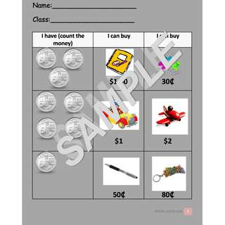 Math/ Numeracy Worksheet - Counting Money (50 cent coins) by Special Needs Hub  [6 Pages]