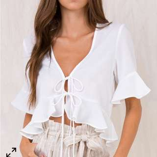 White frilled crop top