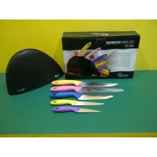 Pisau Dapur Stainless Set Oxone Gagang Warna-warni Raibow Knife Set OX606