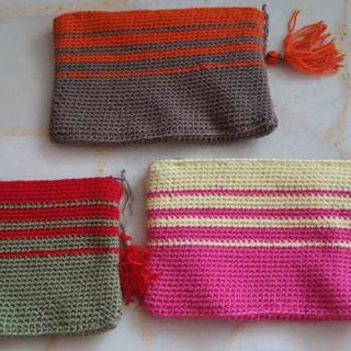 Crochet Zipper Pouch  (with lining)