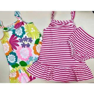 Carters floral and pink stripe dress set