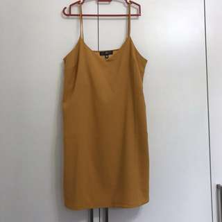 Mustard Crepe Slip Dress