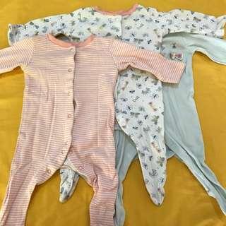 Mothercare Sleepsuit x 3 & FREE POSTAGE
