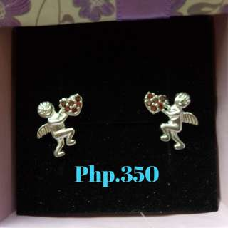 Silver Earrings (Cupid stud with stone)
