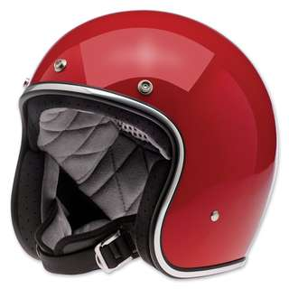 Biltwell Bonanza Adult Open Face Helmet Style Blood Red 3/4 Open-Face DOT Helmet (Red, Large)
