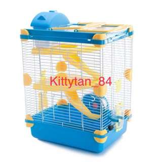 (Big Blue) Brand New Large 3-Storey Hamster Cage For Sale / Comes With Full Accessories/ Water Bottle, Wheel, House, Food Tray