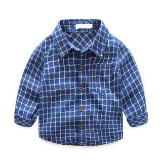 🐰Instock - blue checkered top, unisex baby infant toddler girl boy children sweet kid happy abcdefg