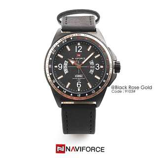 Men's Casual Quartz New NAVI FORCE 9103#p  Diameter : 4,5cm Original Watch Stainless Steel Case Leather Strap Ready 5 colours : - Black - Black Rosegold - Brown - Coffee - Orange Completed :  Date,Day, Mont Free box Navi Warranty machine 1 y