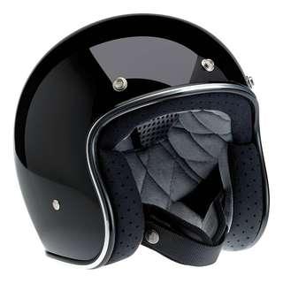 Biltwell Bonanza Gloss Black SIZE LARGE ONLY Half Helmet 3/4 Style Cafe Racer Motorcycle Motorbike Bike Helmet