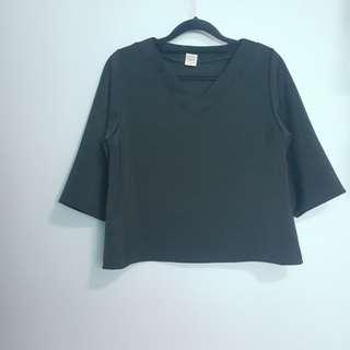 Korean V Neck Boxy Crop Top Blouse 3/4 Sleeve