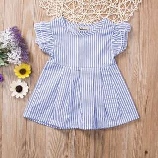 🐰Instock - blue stripe dress, baby infant toddler girl children sweet kid happy abcdefg