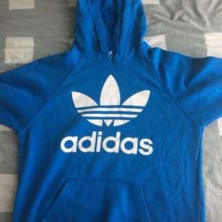 adidas blue trefoil hoodie