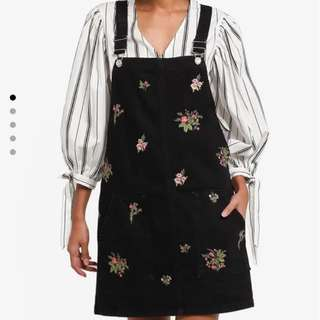 Topshop denim floral embroidered pinafore dress