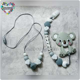Handmade beads necklace & Pacifier Clip with customisation of name + Grey Koala teether