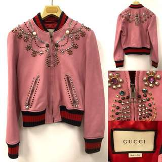 Gucci pink leather with studs and crystal jacket size 38