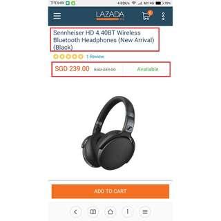 Sealed Set! Sennheiser HD 4.40BT Wireless Bluetooth Headphones