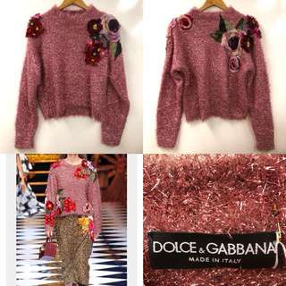 Dolce & gabbana metallic pink with flowers sweater size 36