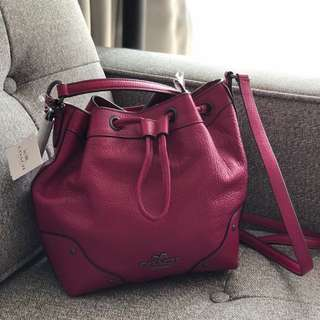 COACH Leather Bucket Crossbody in Deep Fuschia